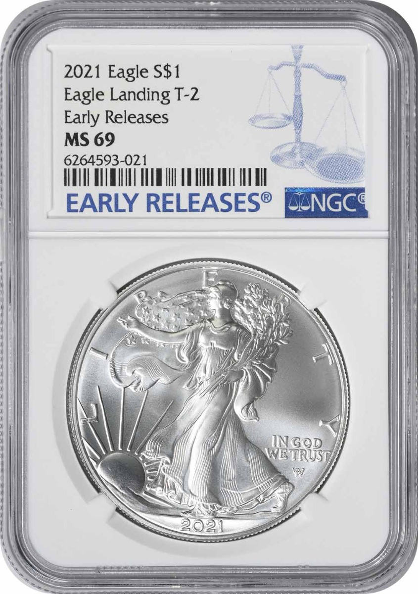 2021 $1 American Silver Eagle Type 2 MS69 Early Releases NGC