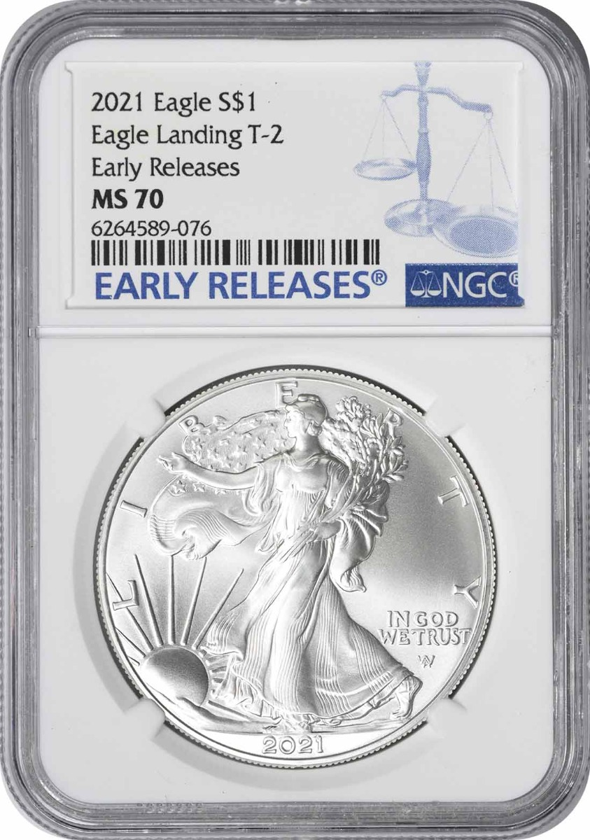 2021 $1 American Silver Eagle Type 2 MS70 Early Releases NGC