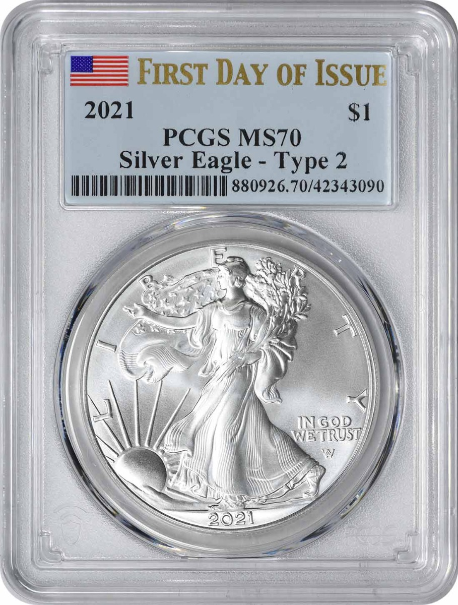 2021 $1 American Silver Eagle Type 2 MS70 First Day of Issue PCGS