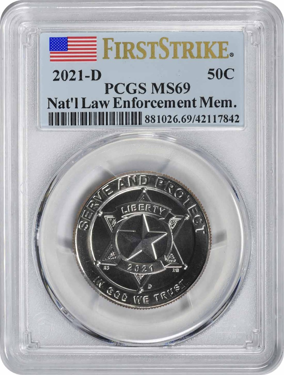 2021-D National Law Enforcement Memorial and Museum Commemorative Clad Half Dollar MS69 First Strike PCGS