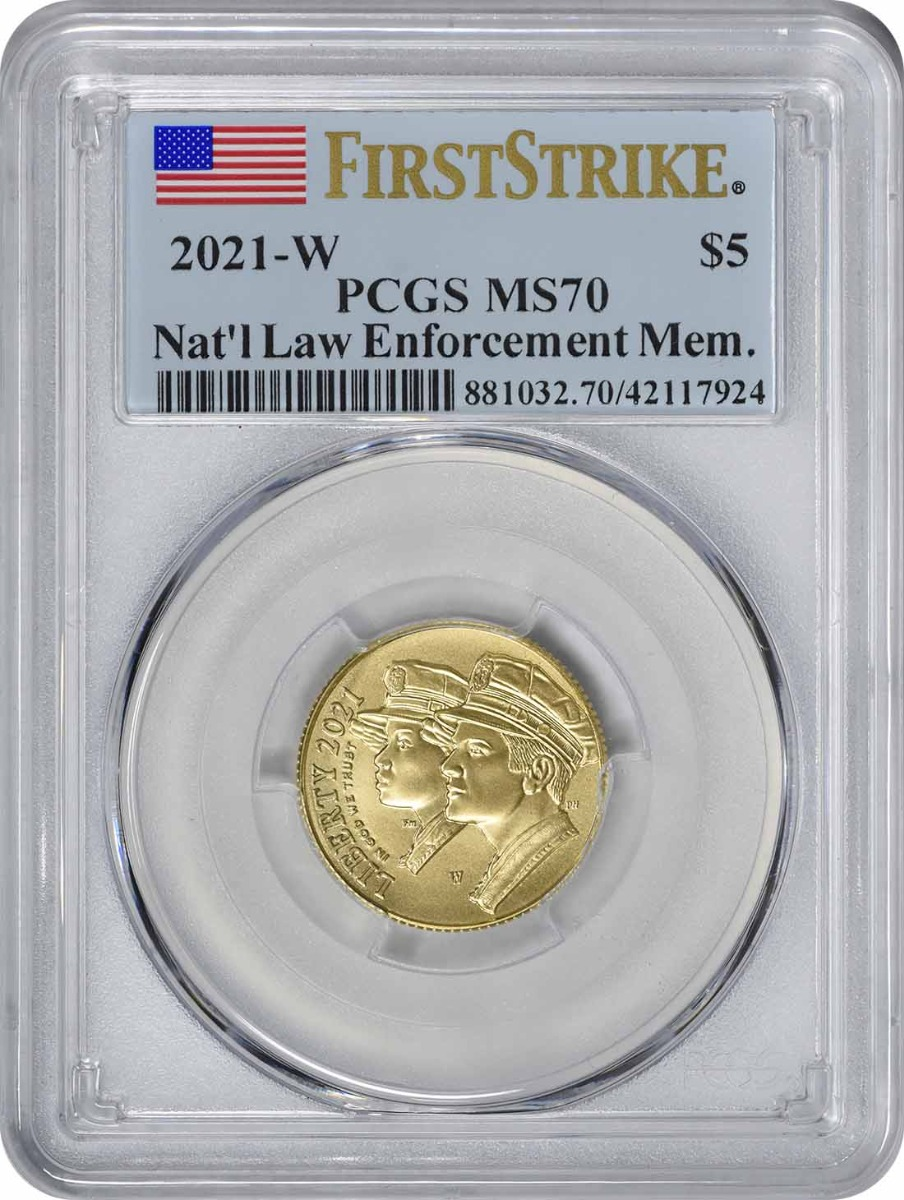 2021-W National Law Enforcement Memorial and Museum Commemorative $5 Gold MS70 First Strike PCGS