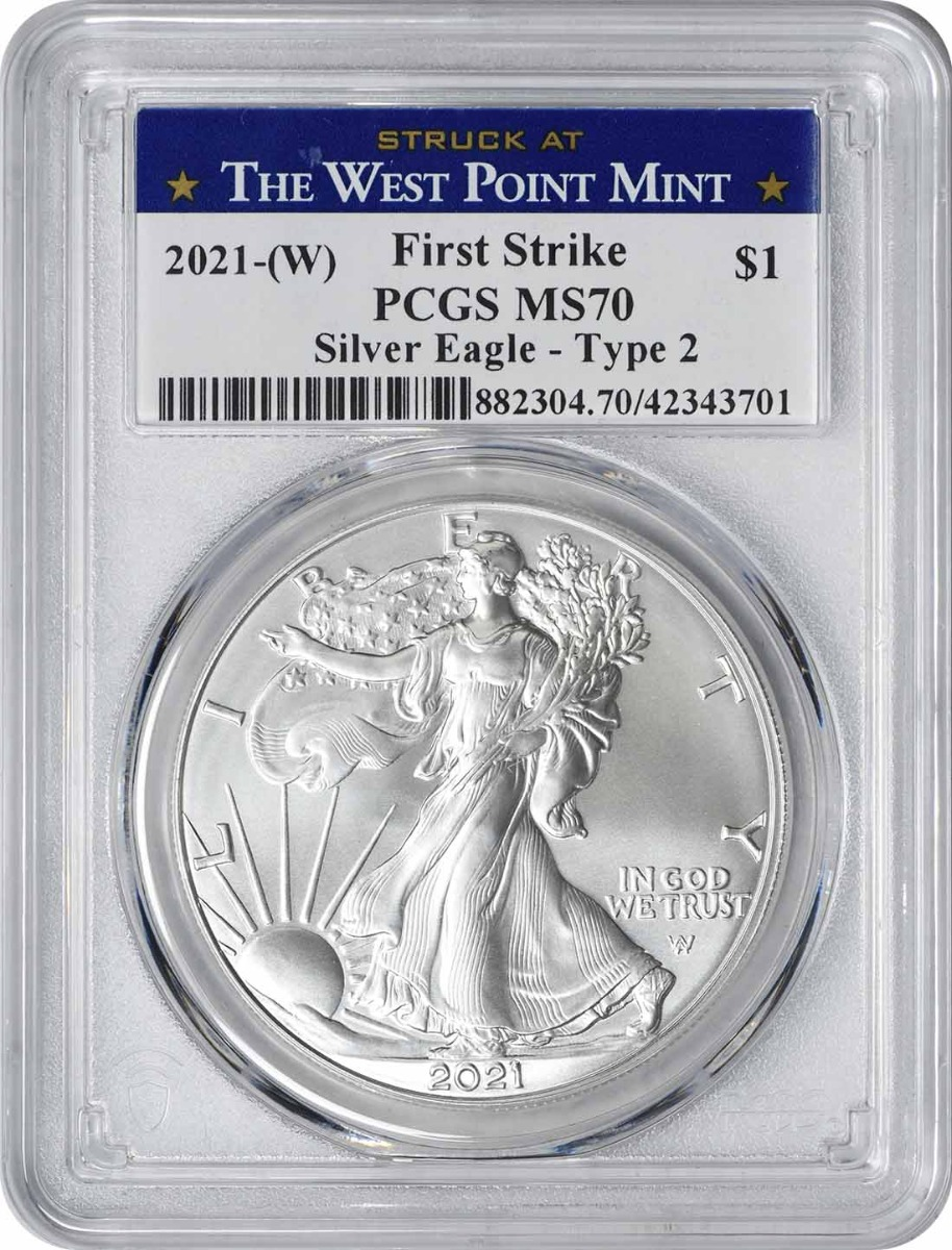 2021-(W) $1 American Silver Eagle Type 2 MS70 First Strike PCGS (Struck at West Point Label)