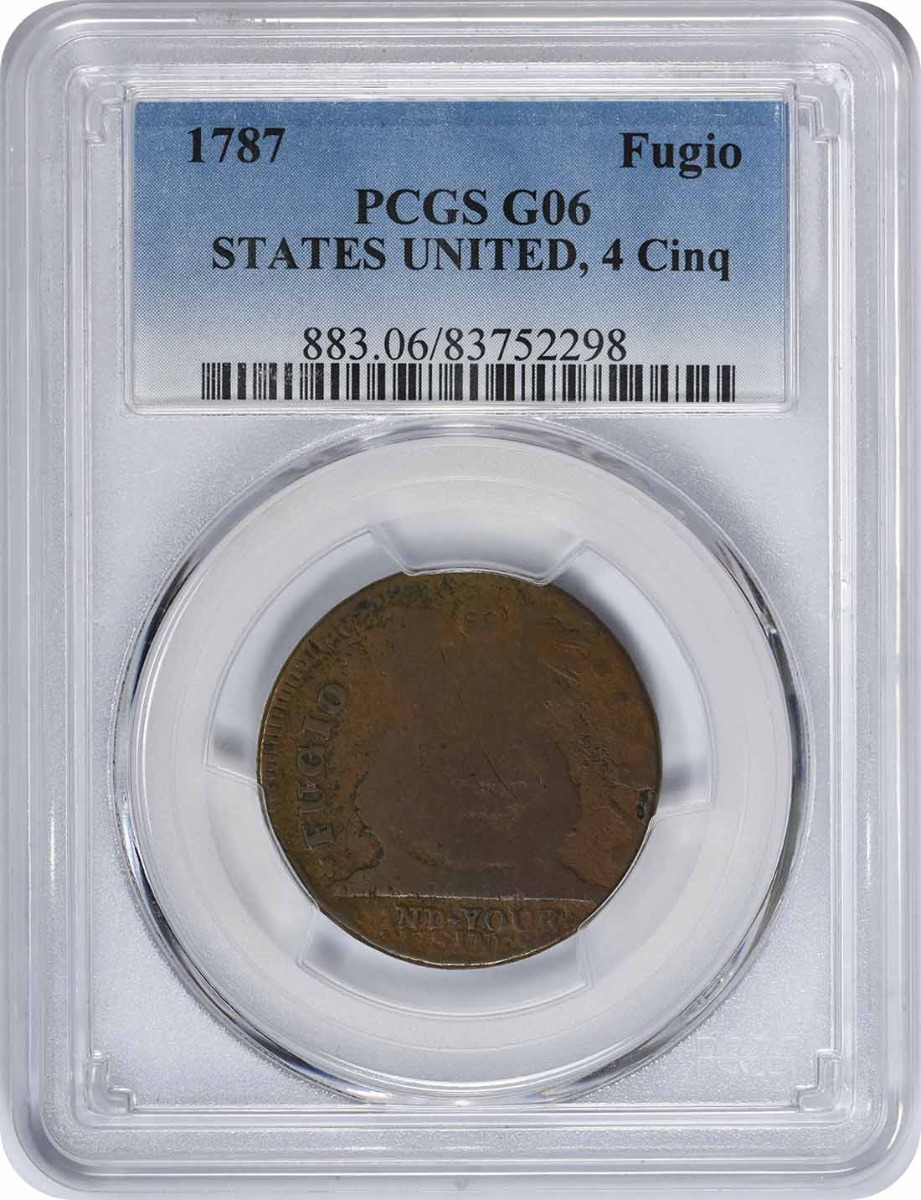 1787 Fugio Cent STATES UNITED 4 Cinq G06 PCGS
