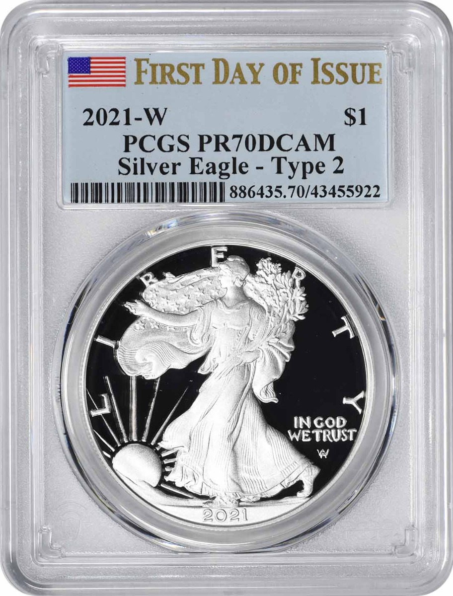 2021-W $1 American Silver Eagle Type 2 PR70DCAM First Day of Issue PCGS
