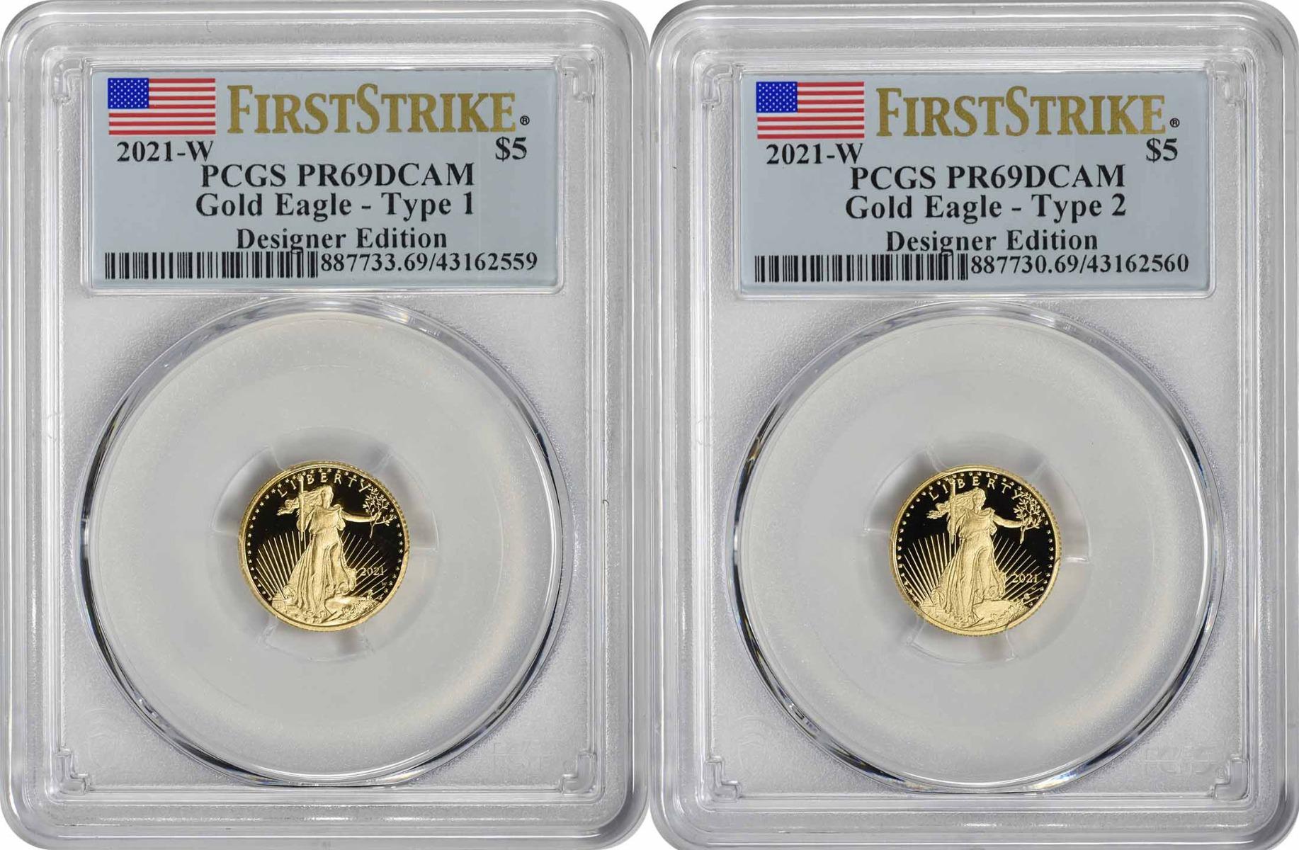 2021-W $5 American Gold Eagle Designer Edition 2-Coin Set PR69DCAM First Strike PCGS