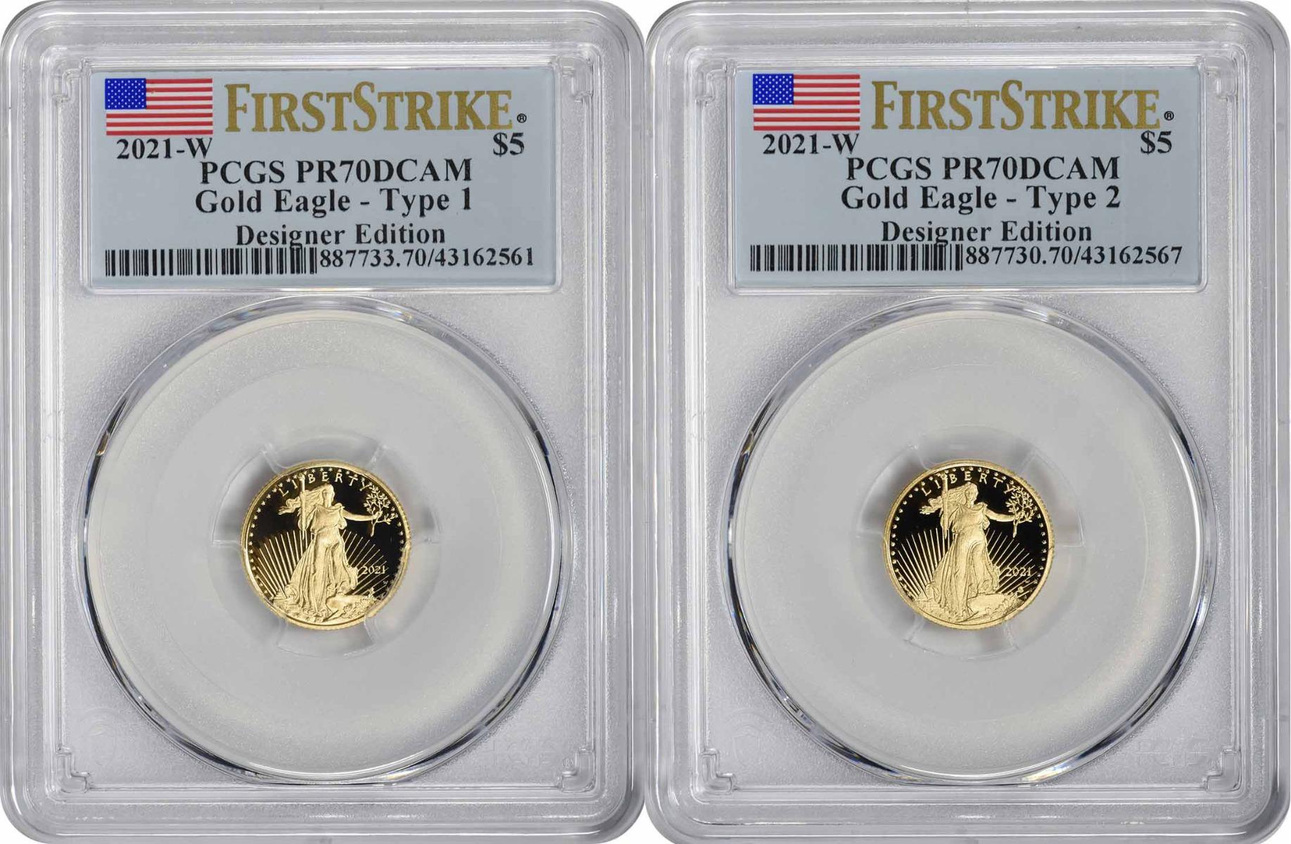 2021-W $5 American Gold Eagle Designer Edition 2-Coin Set PR70DCAM First Strike PCGS