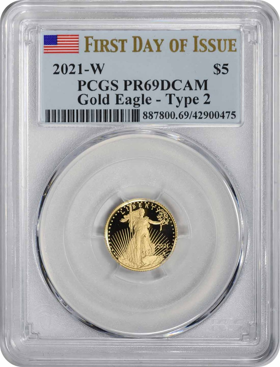 2021-W $5 American Proof Gold Eagle Type 2 PR69DCAM First Day of Issue PCGS