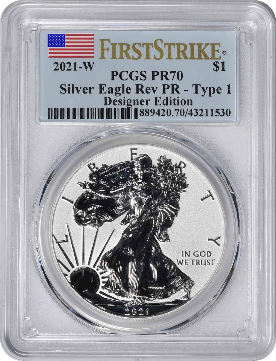 2021-W $1 American Silver Eagle Type 1 from Designer Edition Set Reverse Proof PR70 First Strike PCGS