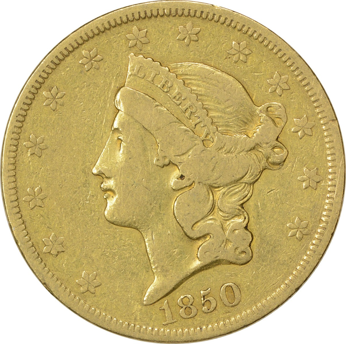 1850 $20 Gold Liberty Head VF Uncertified