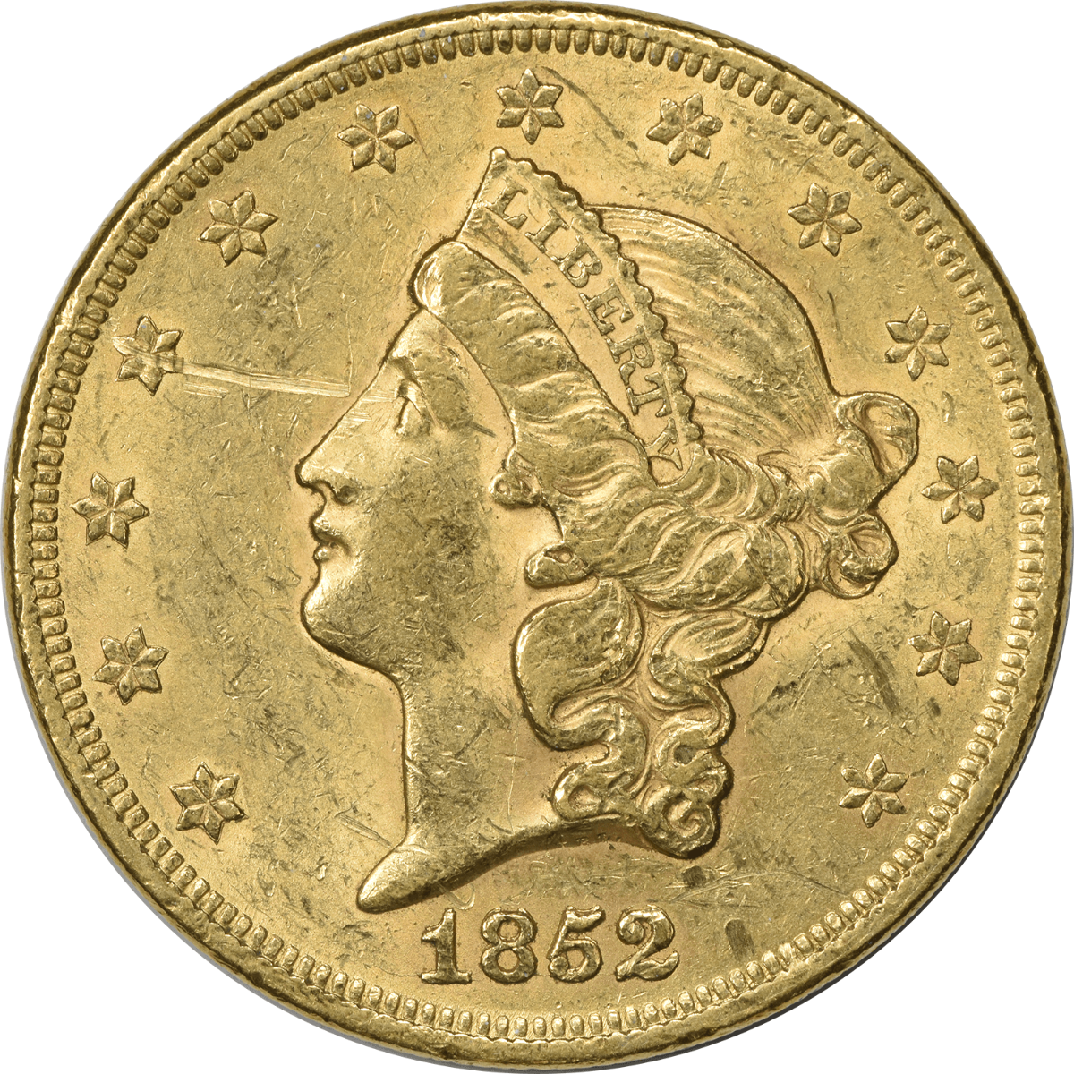1852 $20 Gold Liberty Head EF Uncertified