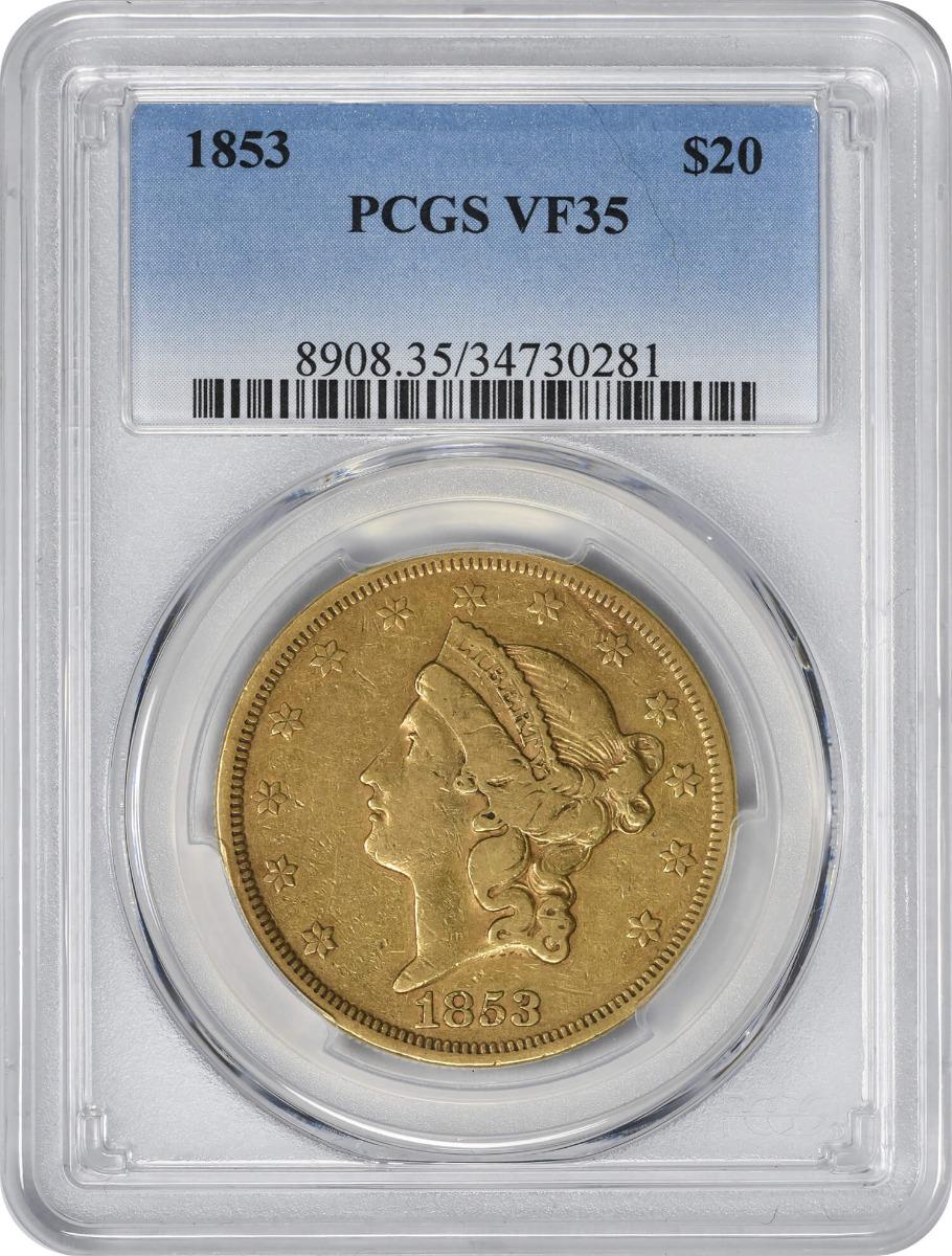 1853 $20 Gold, VF35, PCGS, Liberty