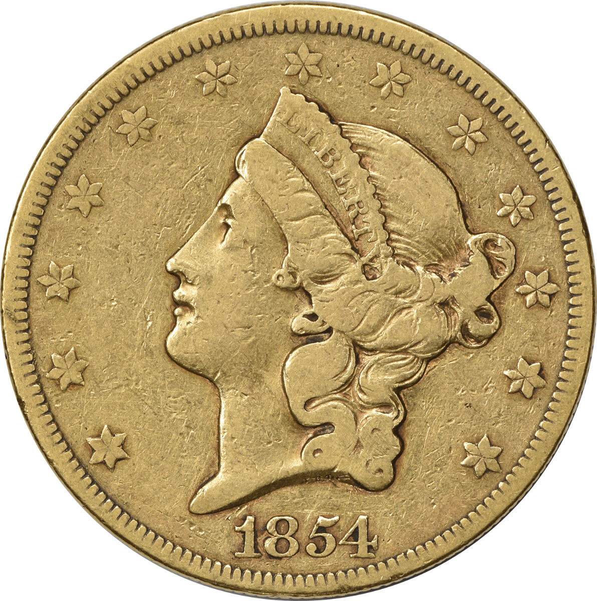 1854 $20 Gold Liberty Head VF Uncertified