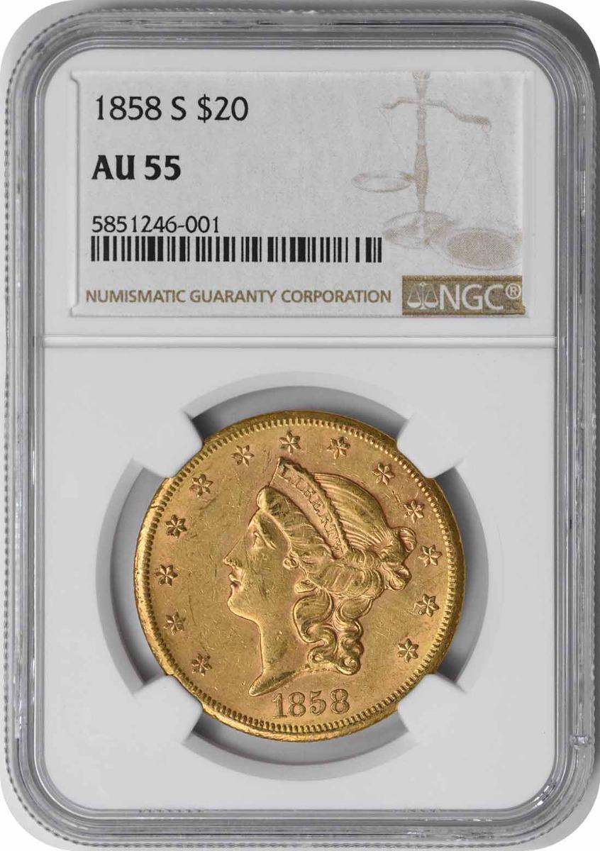 1858-S $20 Gold Liberty Head AU55 NGC