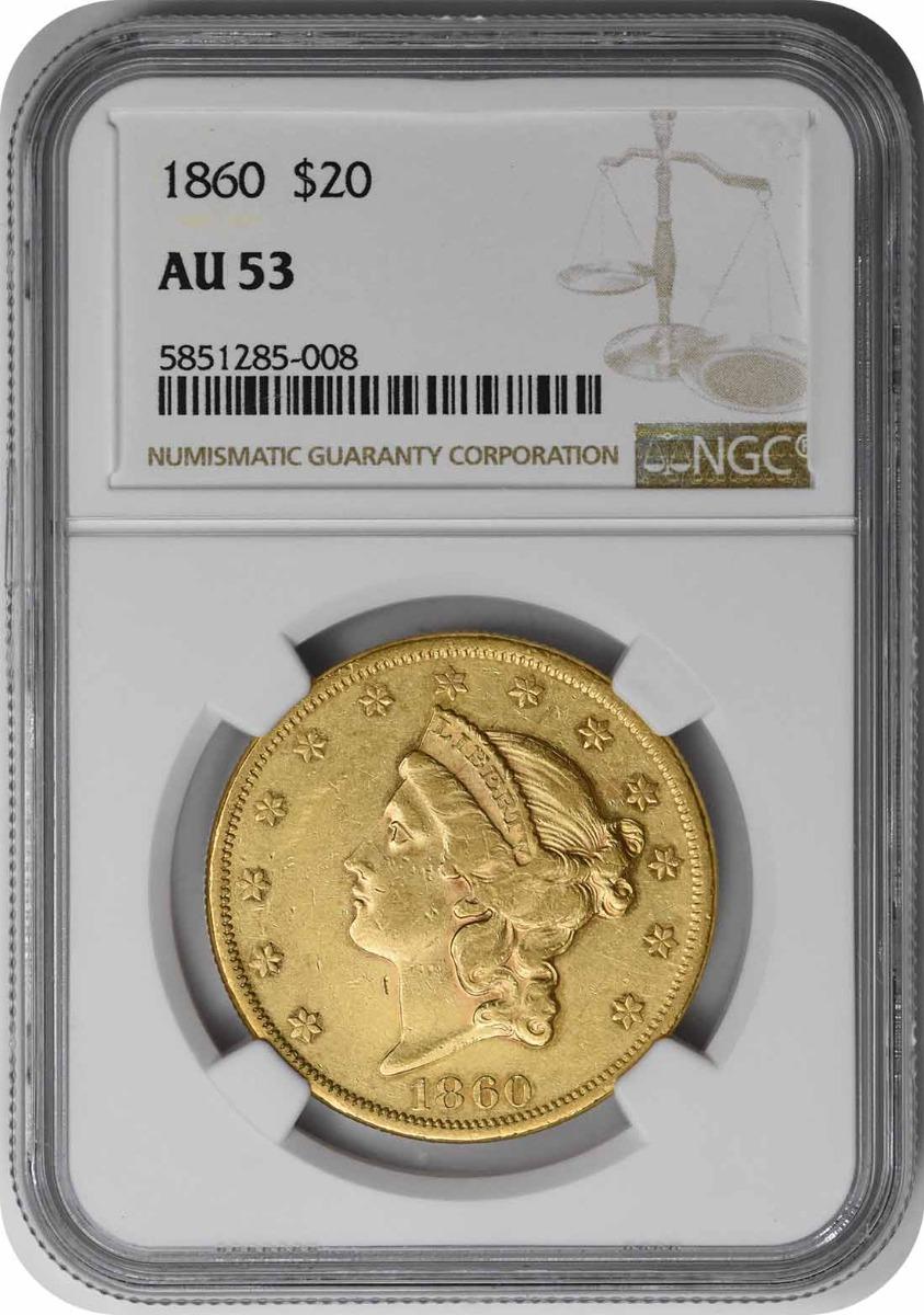 1860 $20 Gold Liberty AU53 NGC