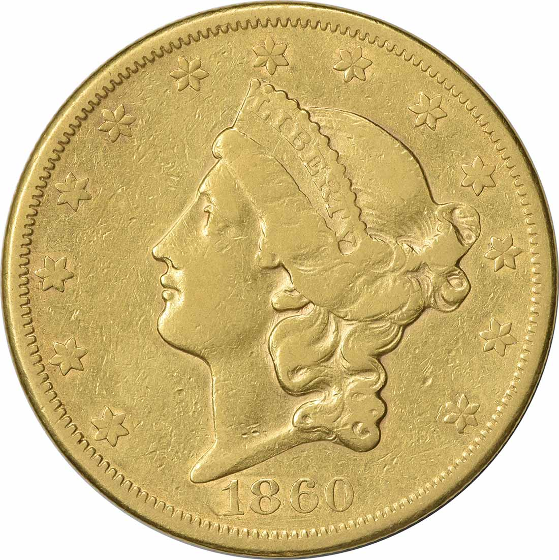 1860-S $20 Gold Liberty Head VF Uncertified