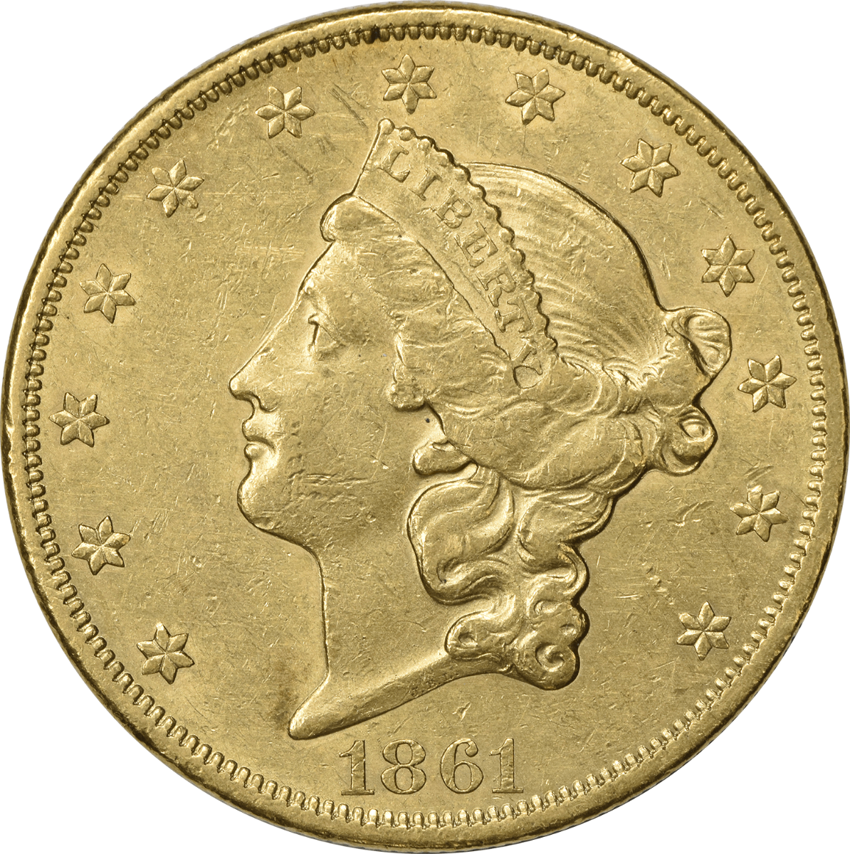 1861 $20 Gold Liberty Head AU Uncertified
