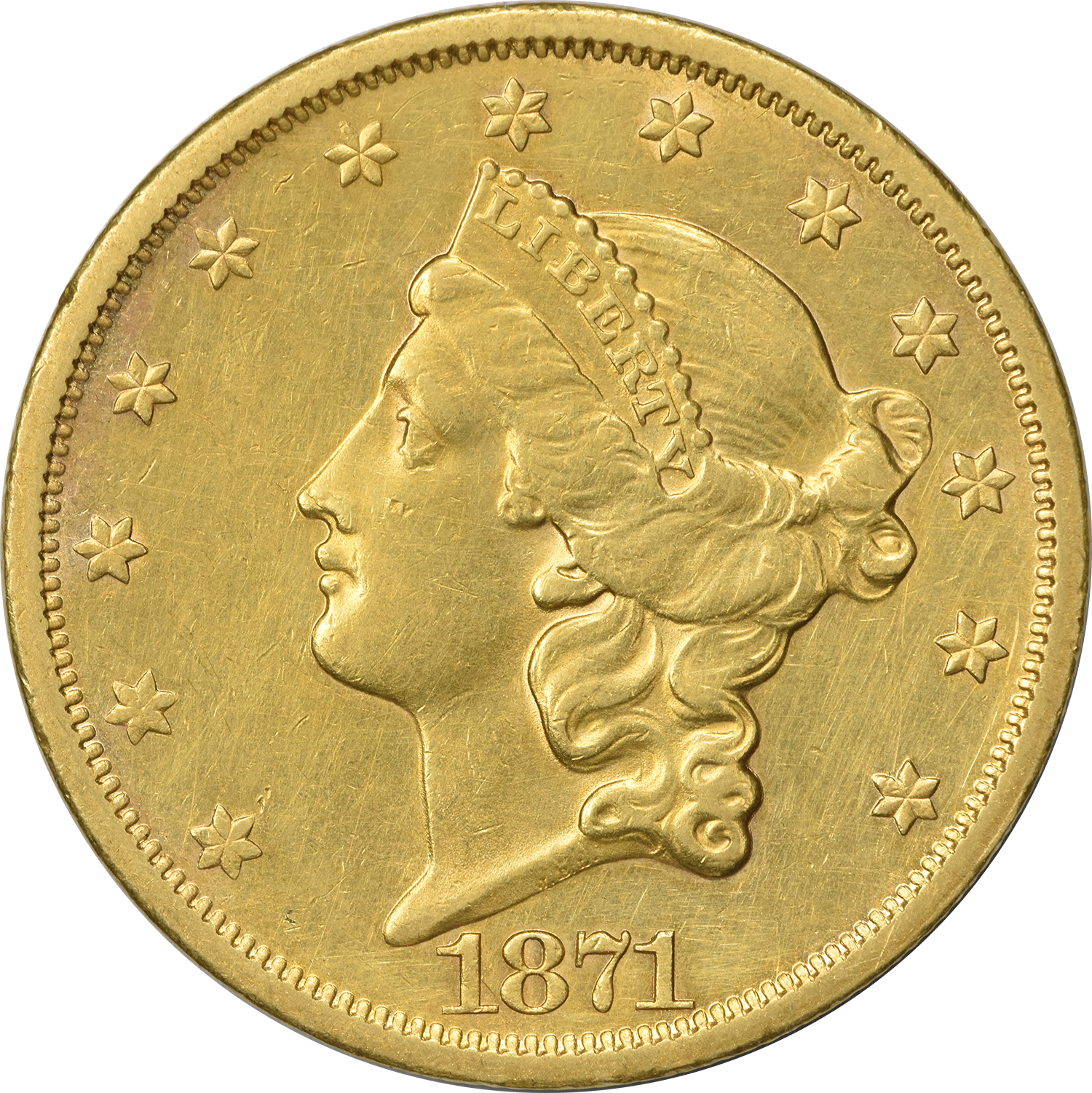 1871-S $20 Gold Liberty Head VF Uncertified