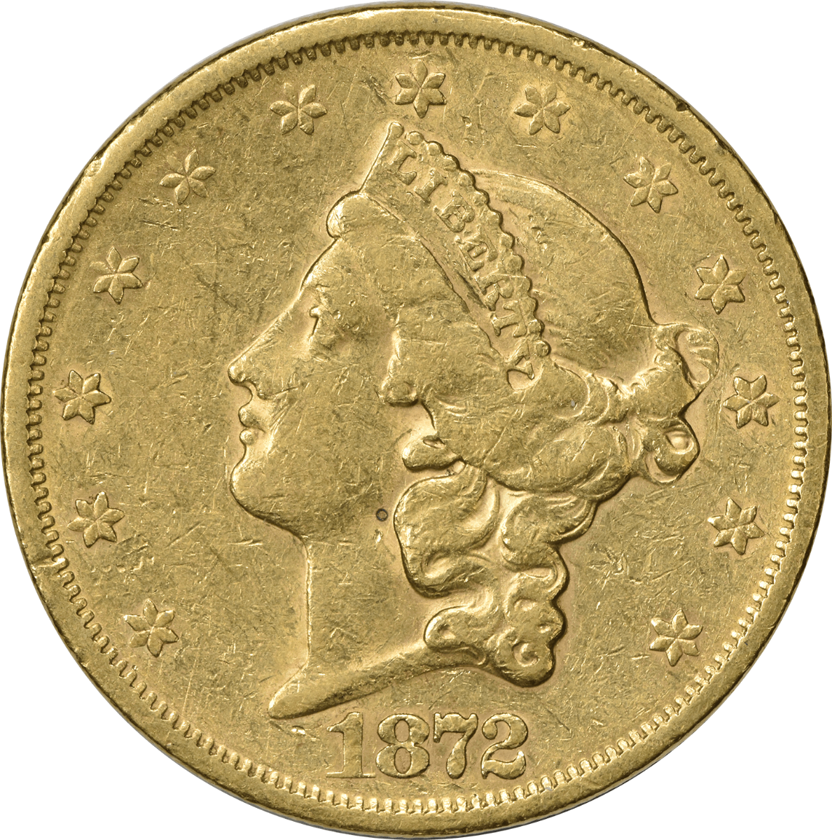 1872-S $20 Gold Liberty Head EF Uncertified