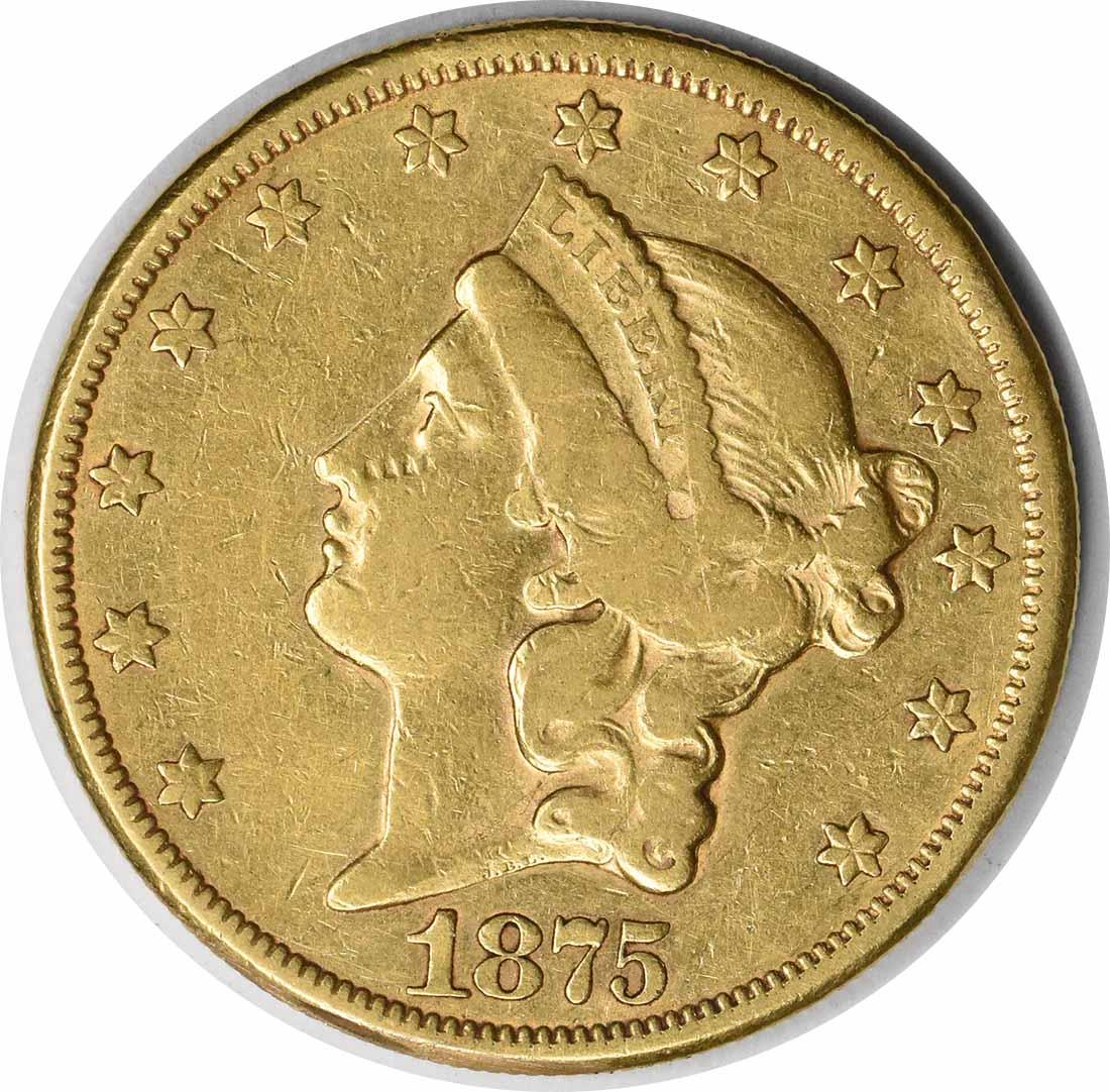 1875-CC $20 Gold Liberty Head VF Uncertified