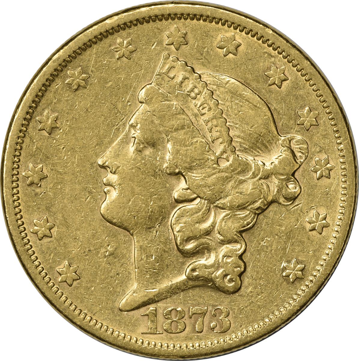 1873-S $20 Gold Liberty Head Open 3 EF Uncertified