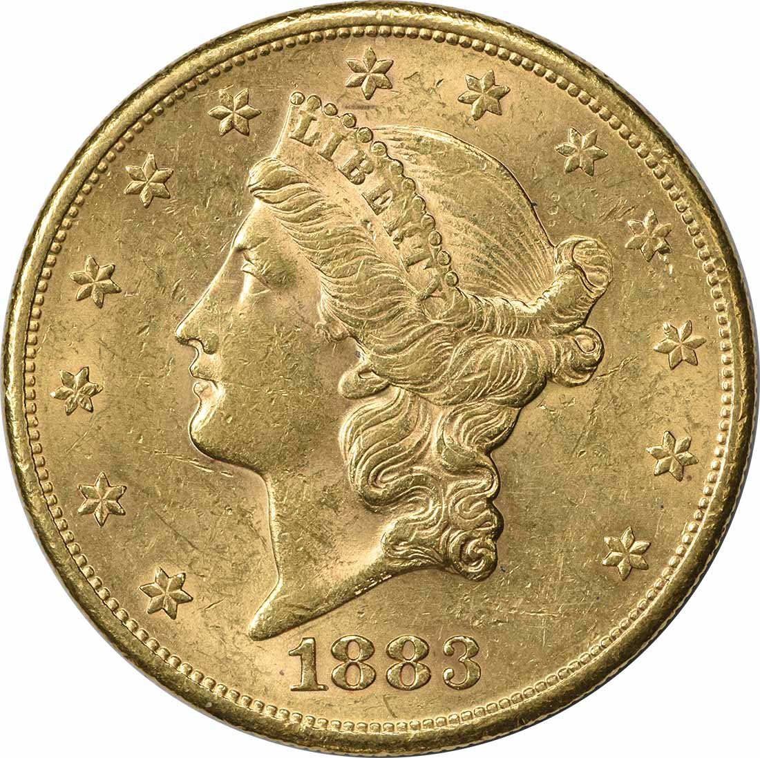 1883-S $20 Gold Liberty Head AU58 Uncertified