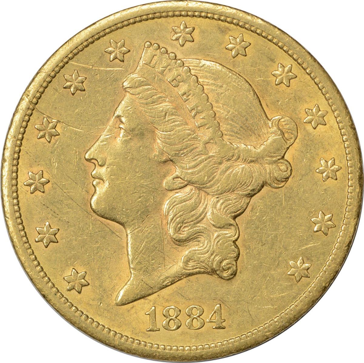 1884-CC $20 Gold, AU (Light Scratches Obverse), Uncertified, Liberty