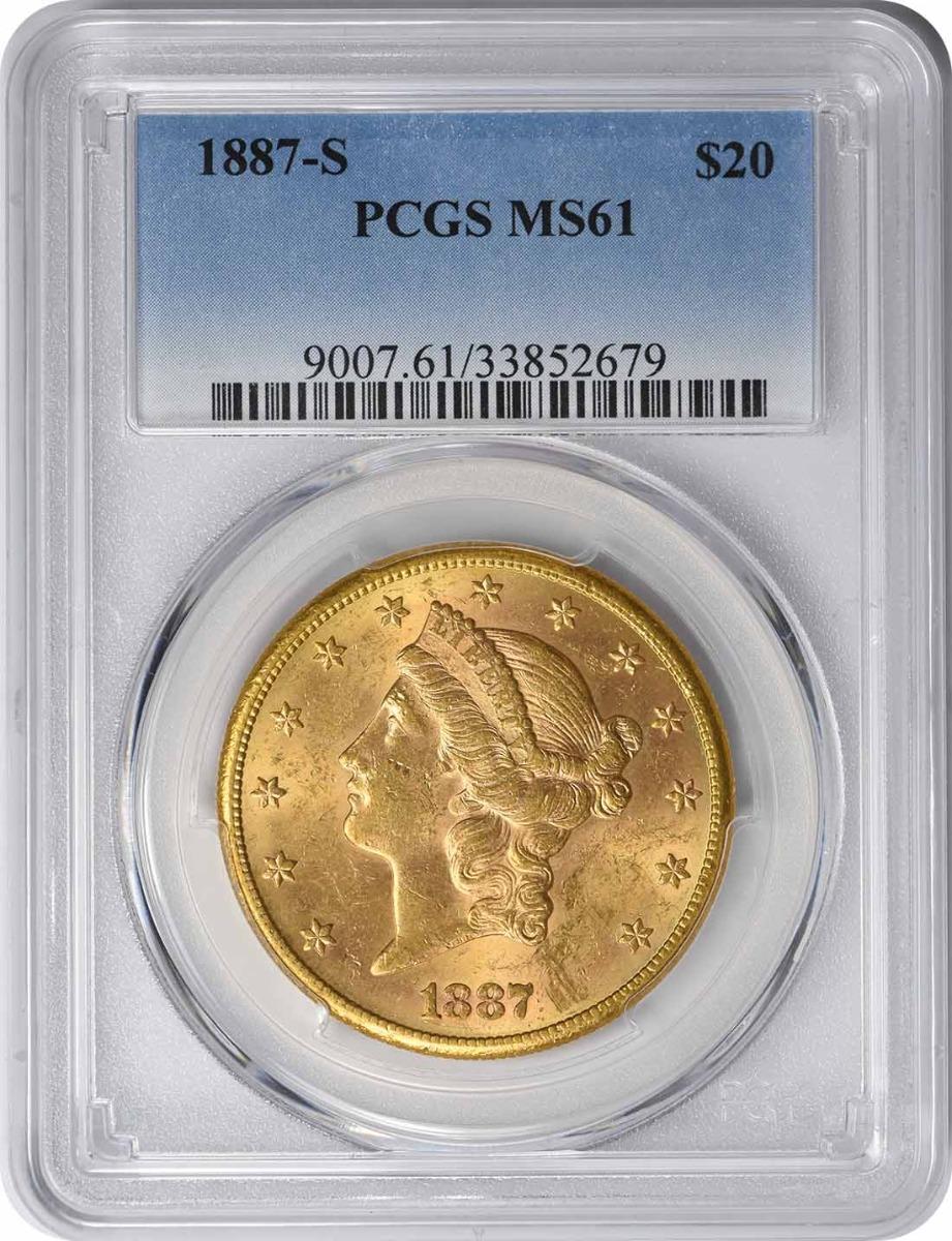 1887-S $20 Gold Liberty Head MS61 PCGS