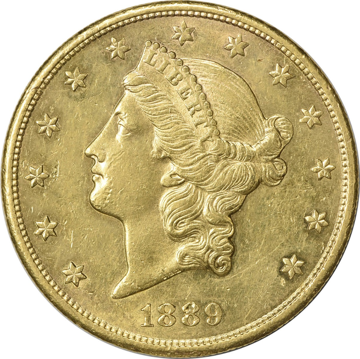 1889-S $20 Gold Liberty Head AU58 Uncertified