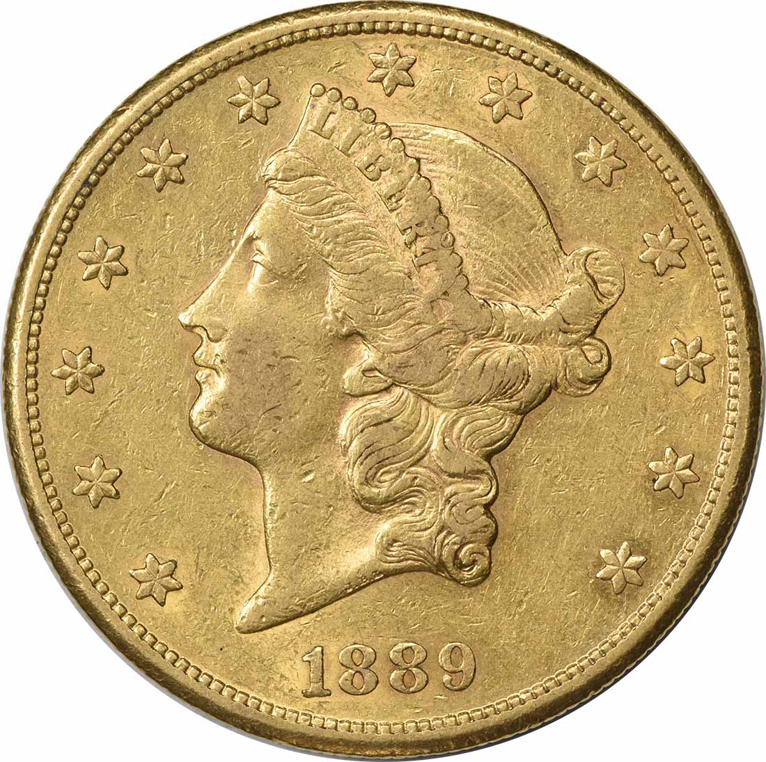 1889-S $20 Gold Liberty Head AU Uncertified