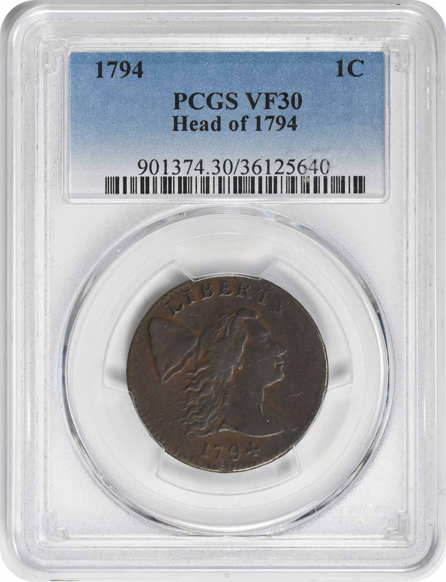 1794 Large Cent Head of 1794 VF30 PCGS
