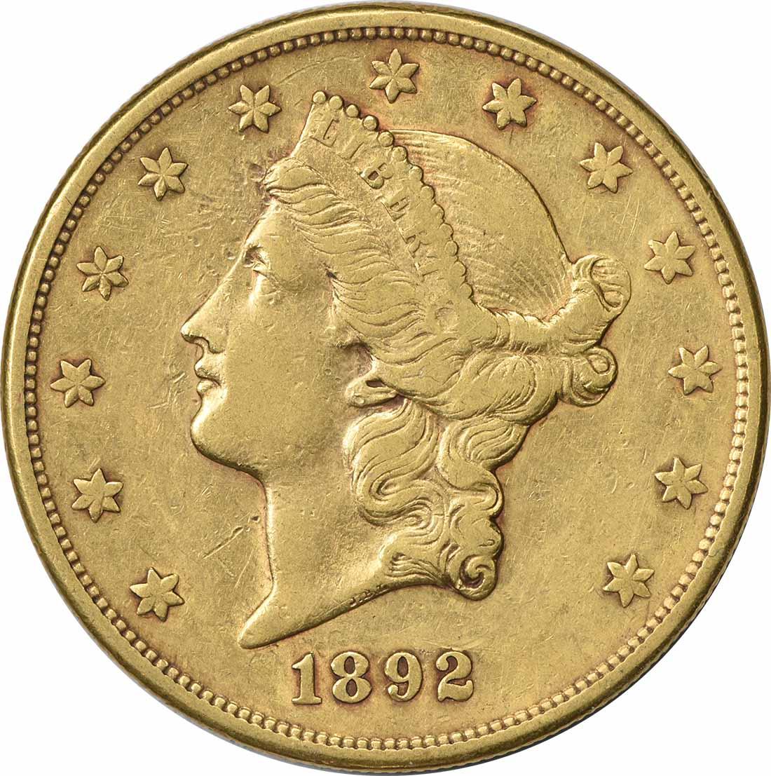 1892-S $20 Gold Liberty Head EF Uncertified