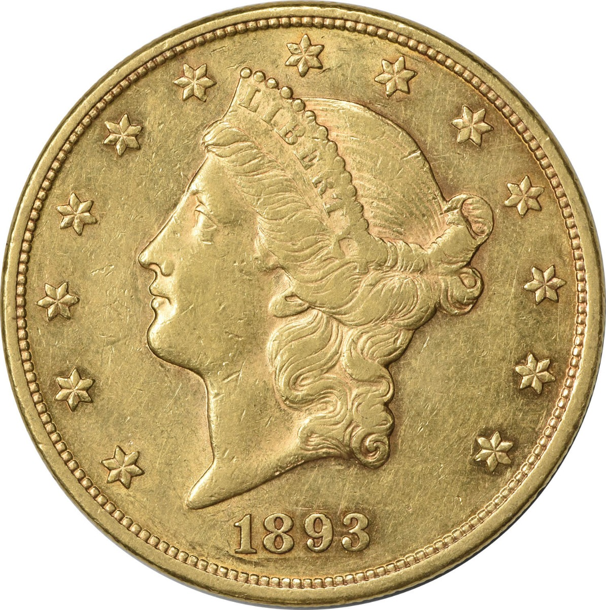 1893 $20 Gold Liberty Head Choice AU Uncertified