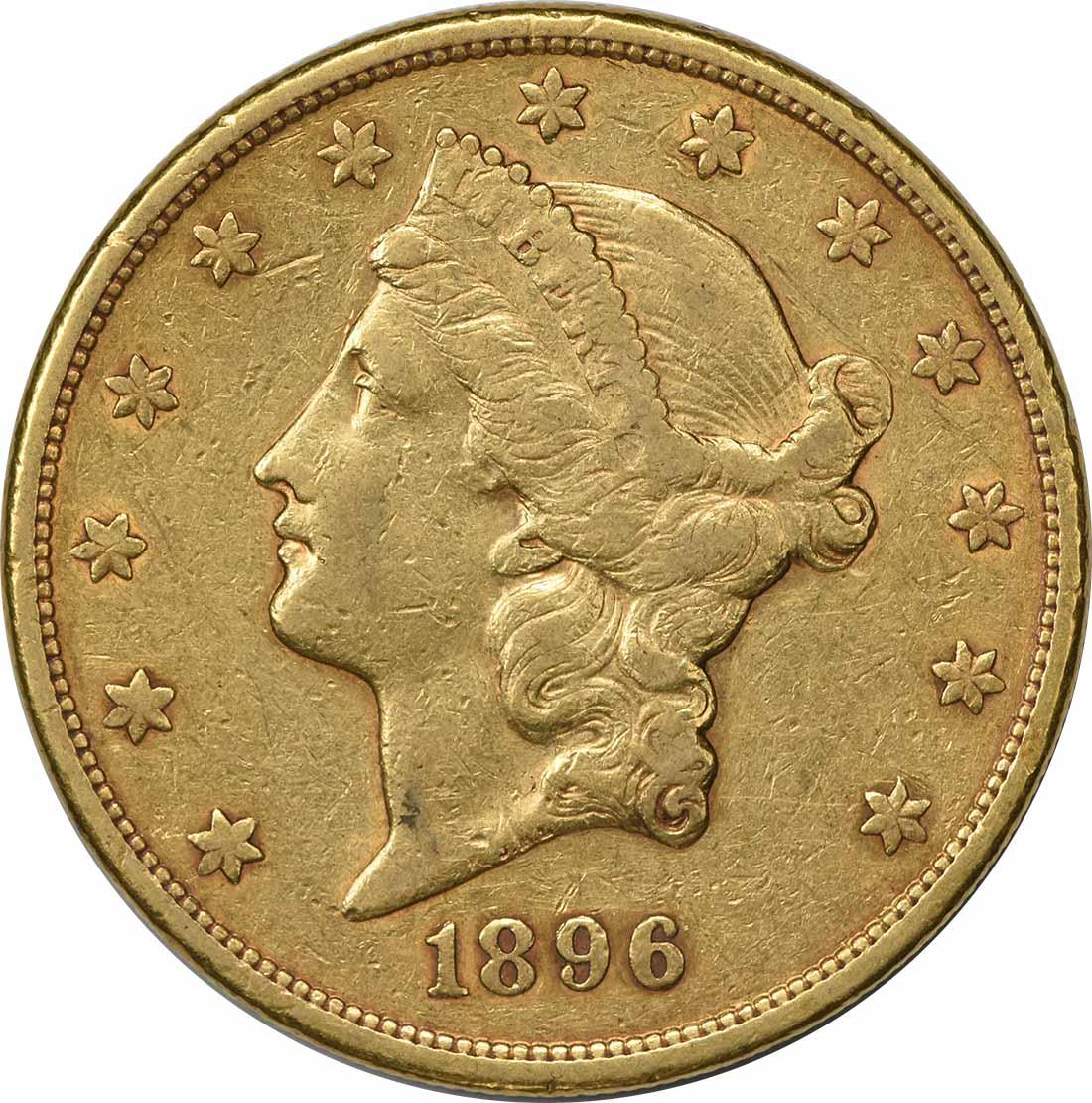 1896-S $20 Gold Liberty Head EF Uncertified