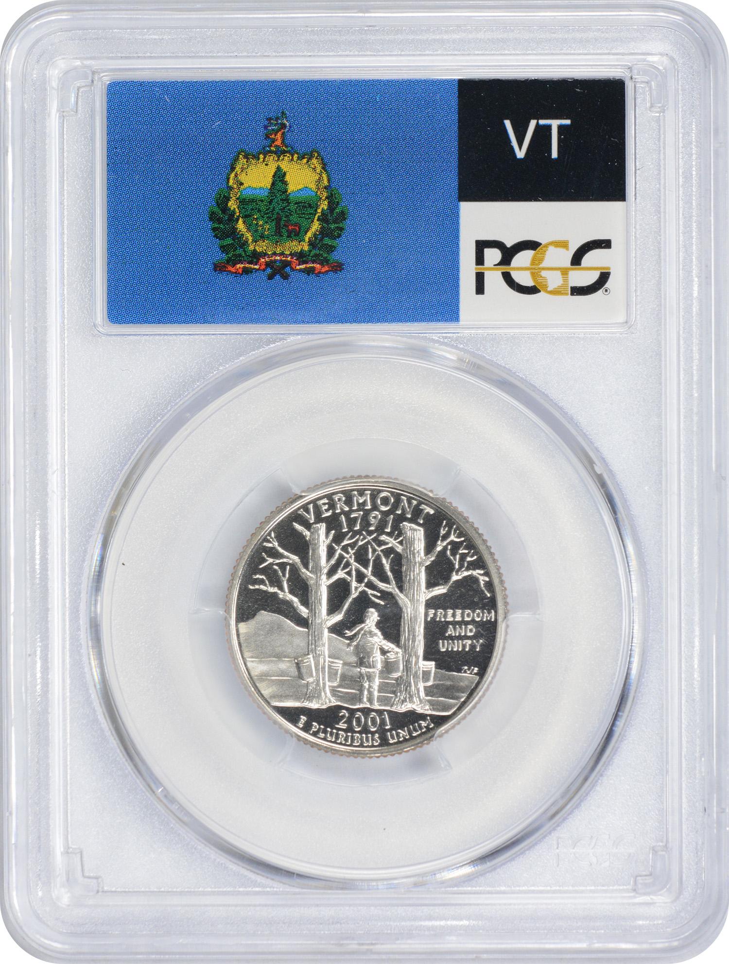 2001-S Vermont State Quarter, PR70DCAM, Clad, PCGS