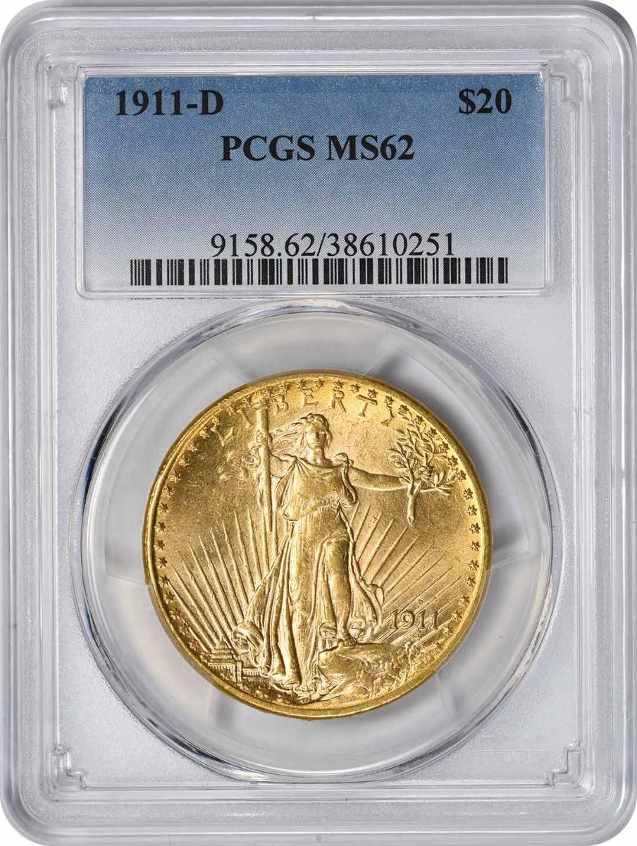 1911-D $20 Gold MS62 PCGS St. Gaudens