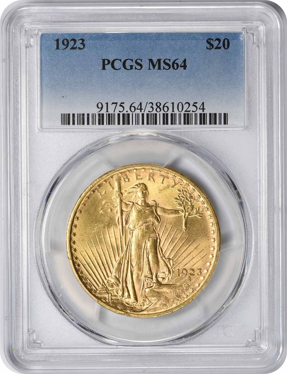 1923 $20 Gold MS64 PCGS St. Gaudens
