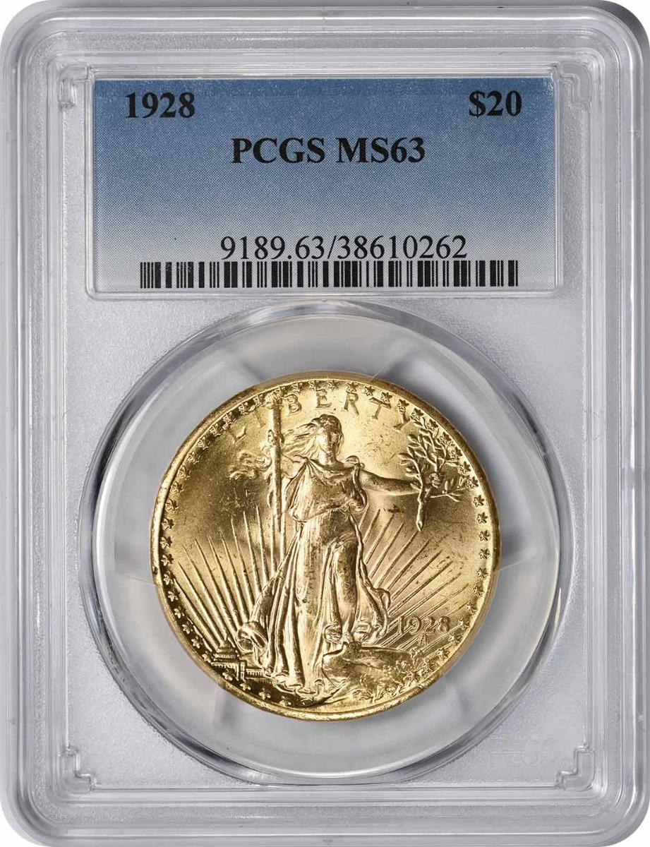 1928 $20 Gold MS63 PCGS St. Gaudens