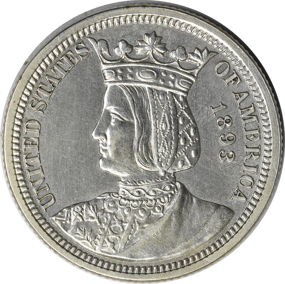 1893 Isabella Commemorative Silver Quarter AU58 Uncertified