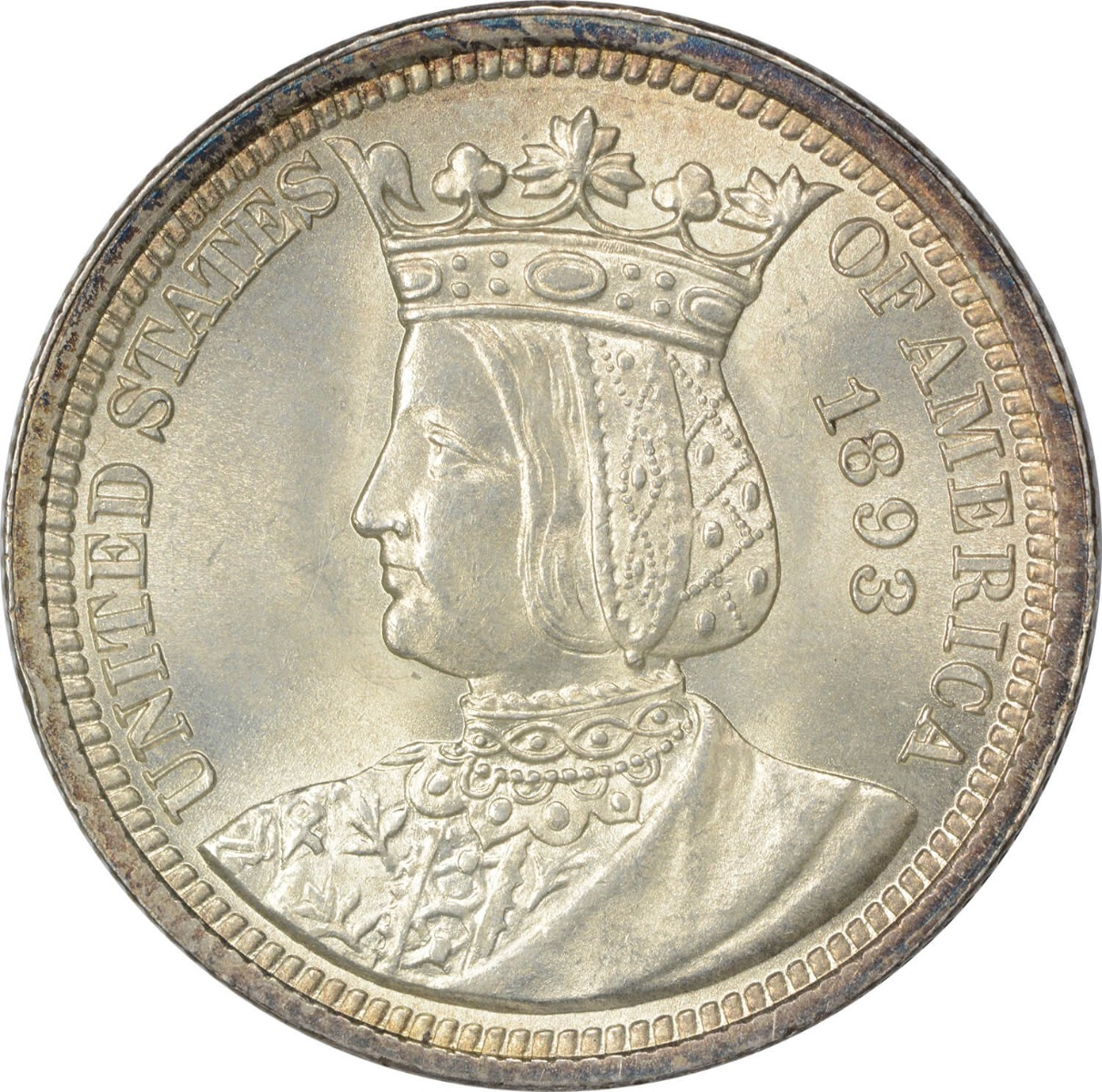 1893 Isabella Commemorative Silver Quarter MS60+ Uncertified