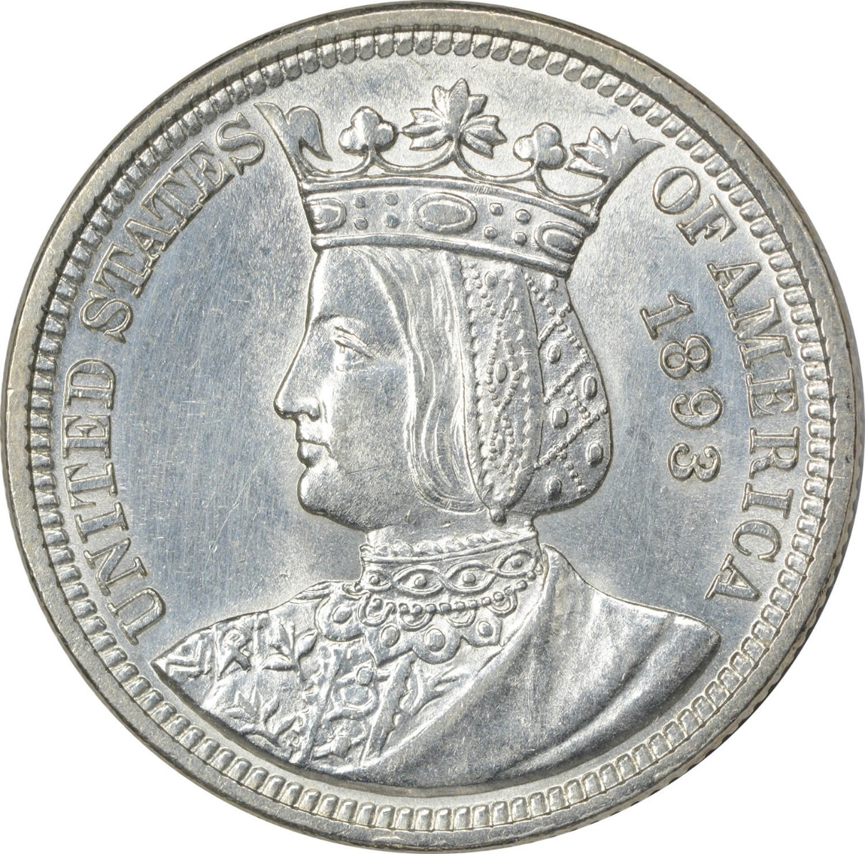 1893 Isabella Commemorative Silver Quarter MS63 Uncertified