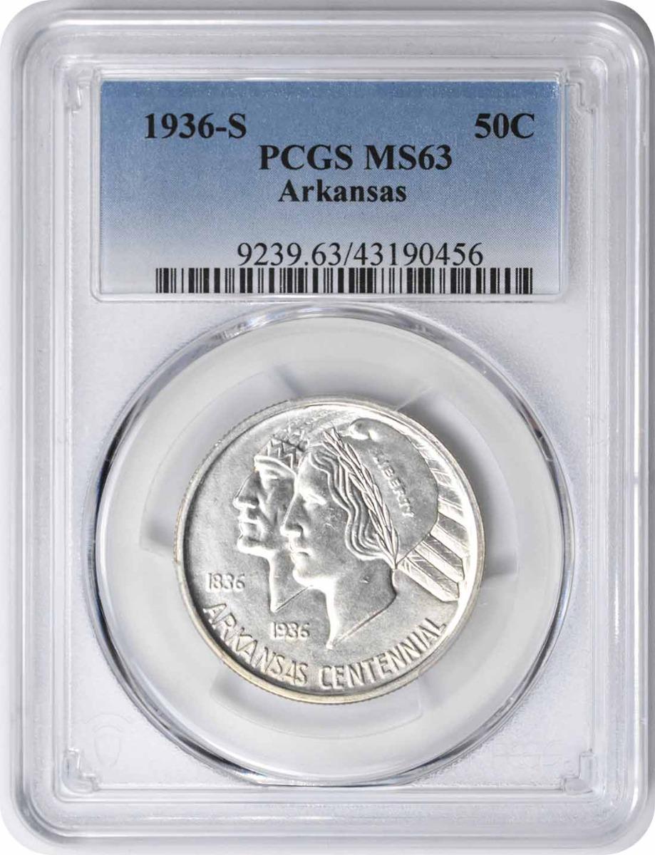 Arkansas Commemorative Silver Half Dollar 1936-S MS63 PCGS