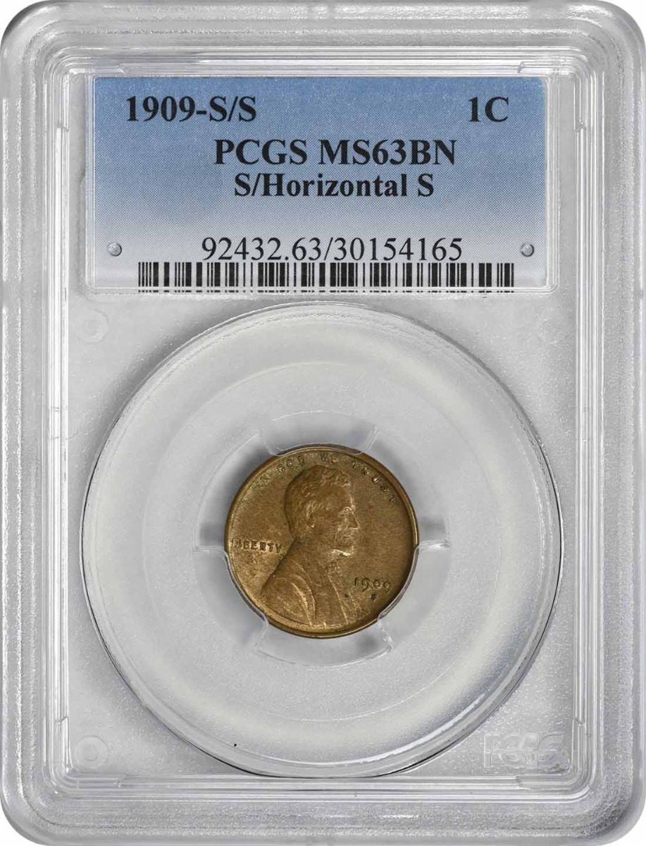 1909-S/S Lincoln Cent S/Horizontal S MS63BN PCGS