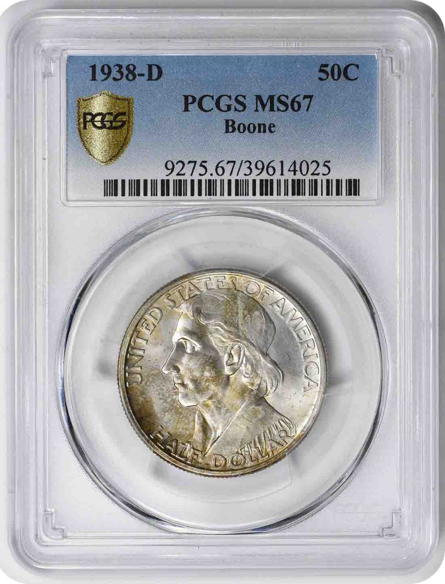 Boone Commemorative Silver Half Dollar 1938-D MS67 PCGS