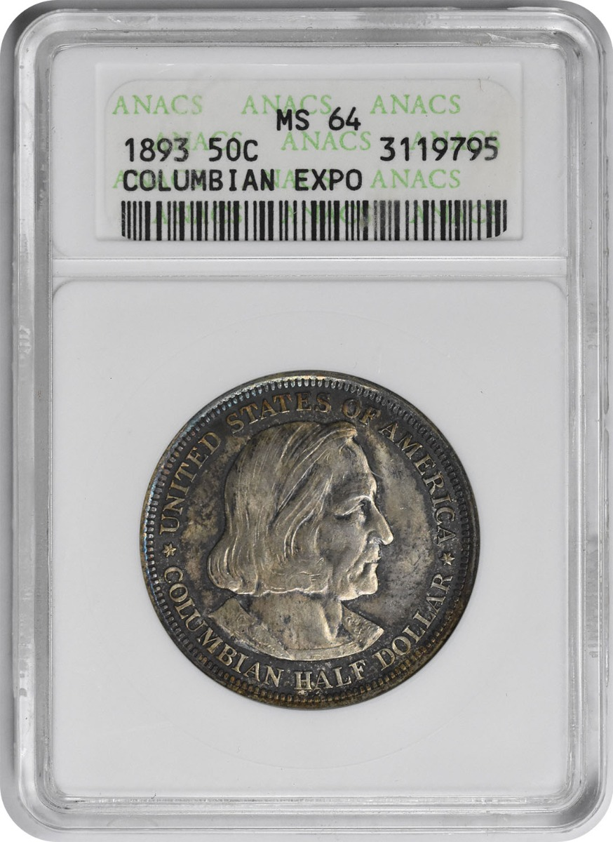 Columbian Commemorative Silver Half Dollar 1893 MS64 ANACS