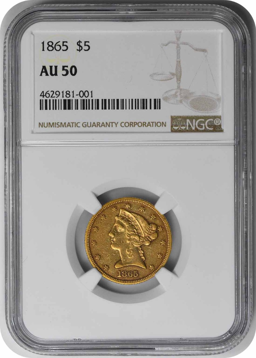 1865 $5 Gold Liberty Head AU50 NGC