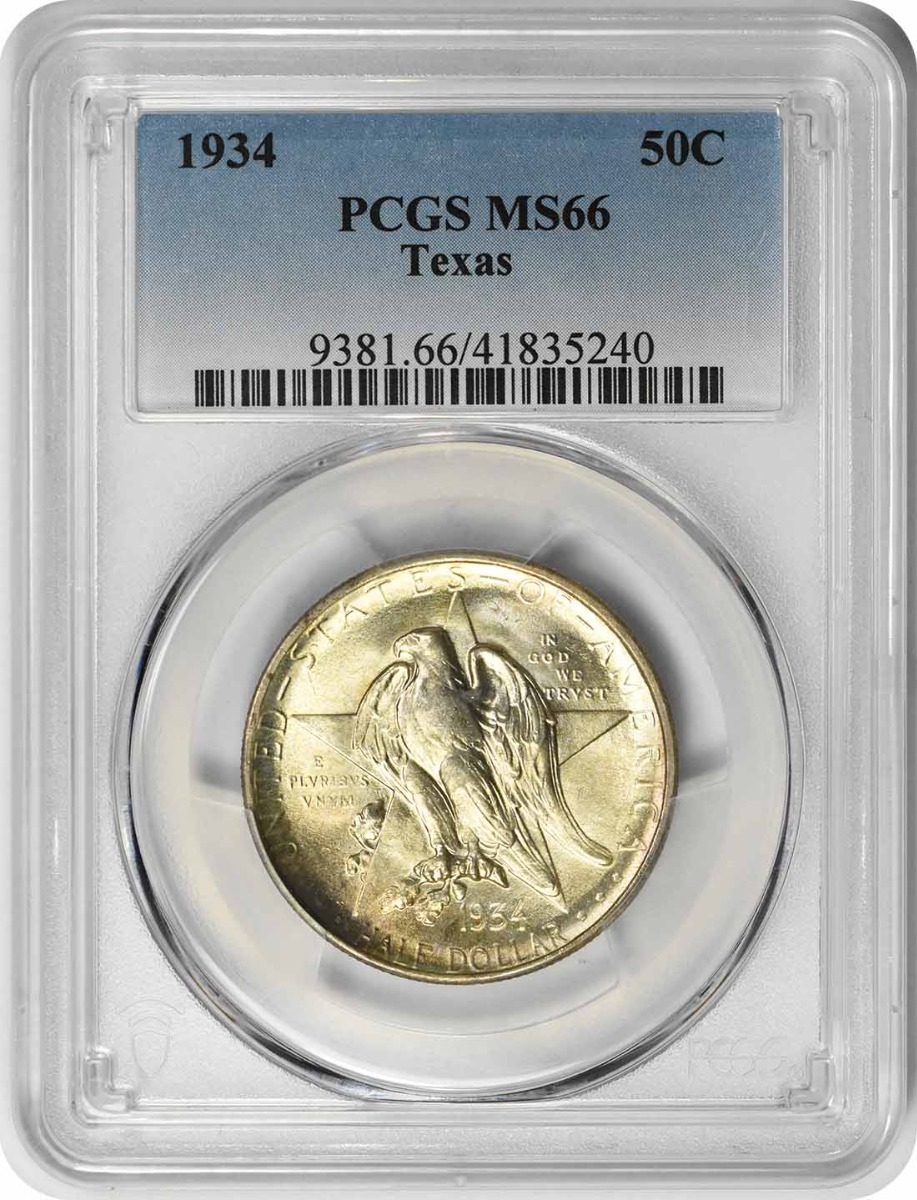 Texas Commemorative Silver Half Dollar 1934 MS66 PCGS