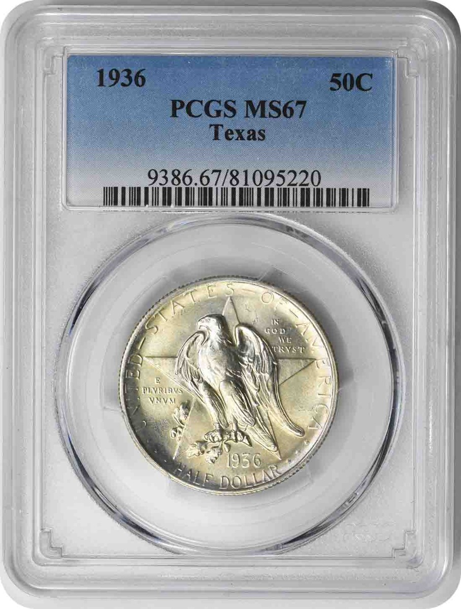 Texas Commemorative Silver Half Dollar 1936 MS67 PCGS