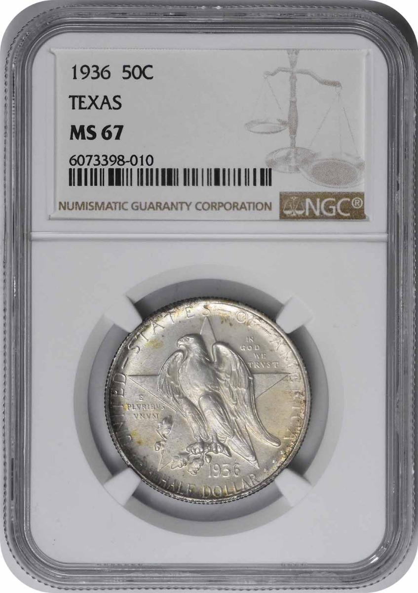 Texas Commemorative Silver Half Dollar 1936 MS67 NGC