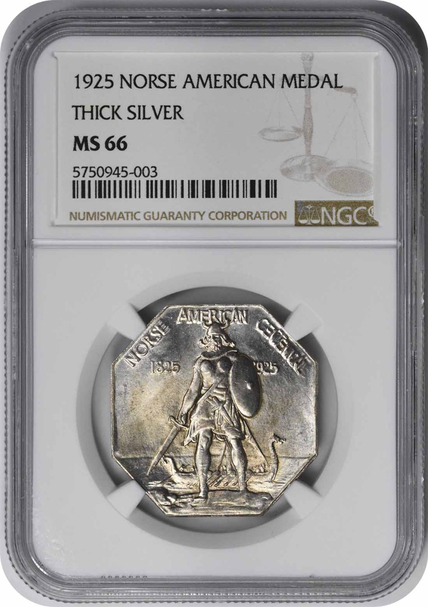 Norse Medal Commemorative Medal 1925 MS66 Thick NGC