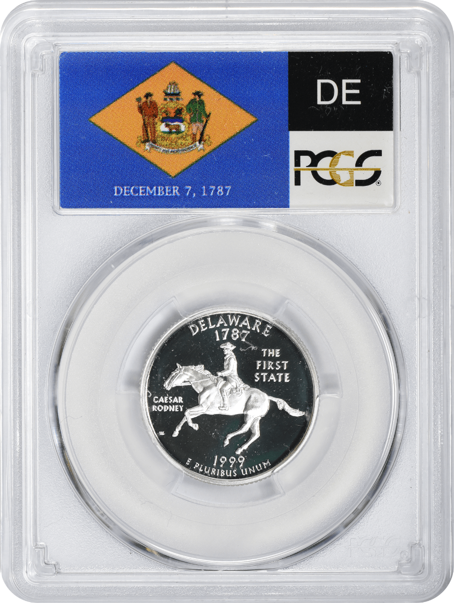 1999-S Delaware State Quarter, PR70DCAM, Silver, PCGS